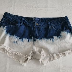 Guess Dip Dyed Raw Cut Off Denim Shorts Size 32